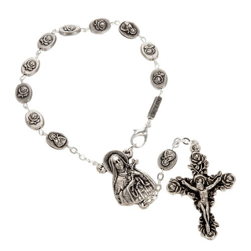Ghirelli single-decade rosary, Saint Teresa in brass, 6x8mm 1
