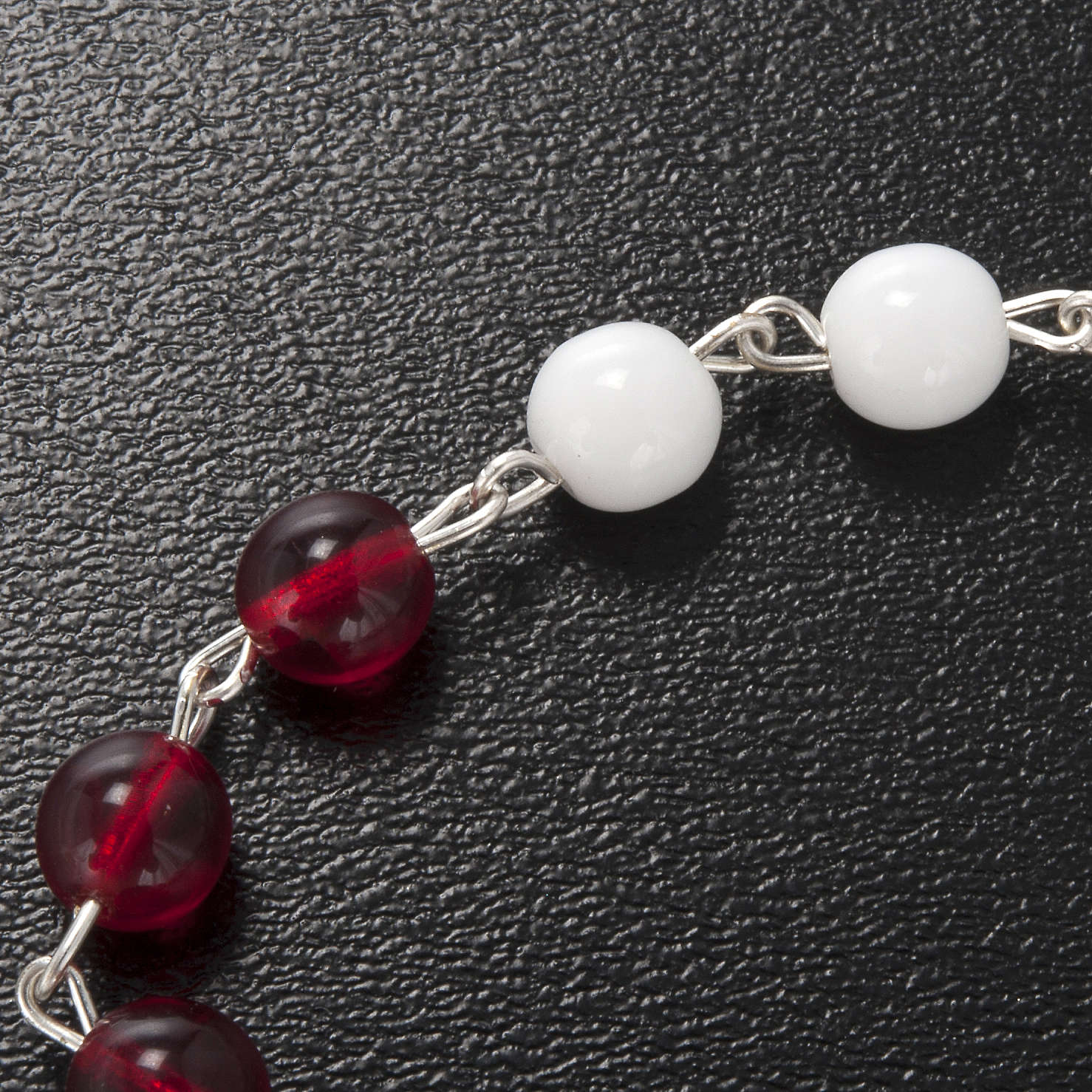 Terço Ghirelli vidro vidro de Boémia branco e vermelho 6 mm 4