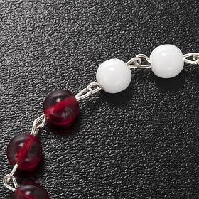 Terço Ghirelli vidro vidro de Boémia branco e vermelho 6 mm s5