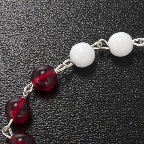 Terço Ghirelli vidro vidro de Boémia branco e vermelho 6 mm 5