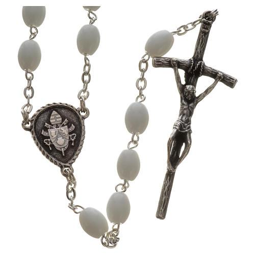 Rosario Ghirelli vetro di Bohemia bianco Benedetto XVI 1