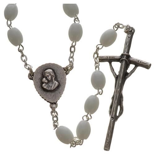 Rosario Ghirelli vetro di Bohemia bianco Benedetto XVI 2