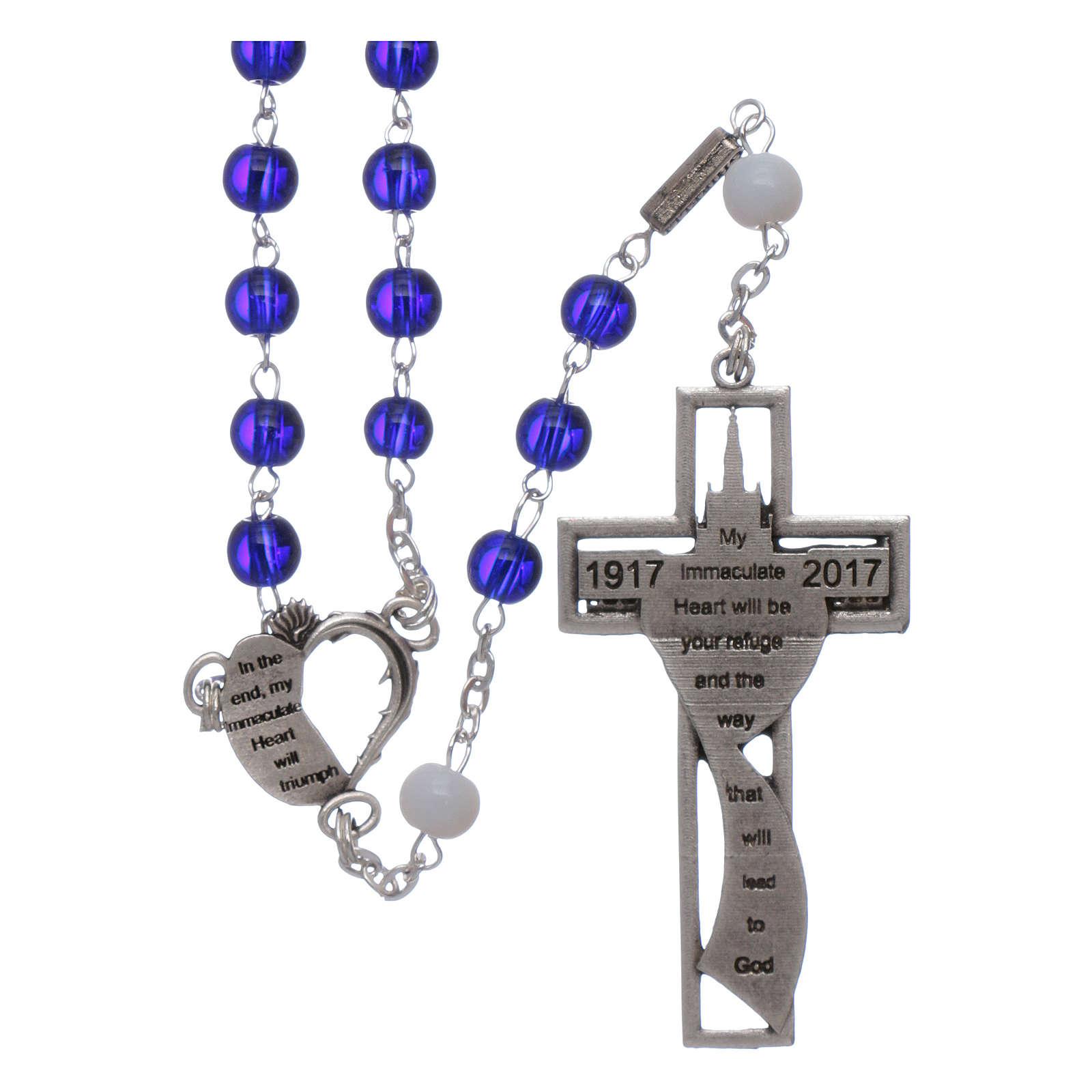 Rosenkranz zum 100-jährigen Jubiläum der Marienerscheinungen in Fatima Glasperlen 6 mm blau 4