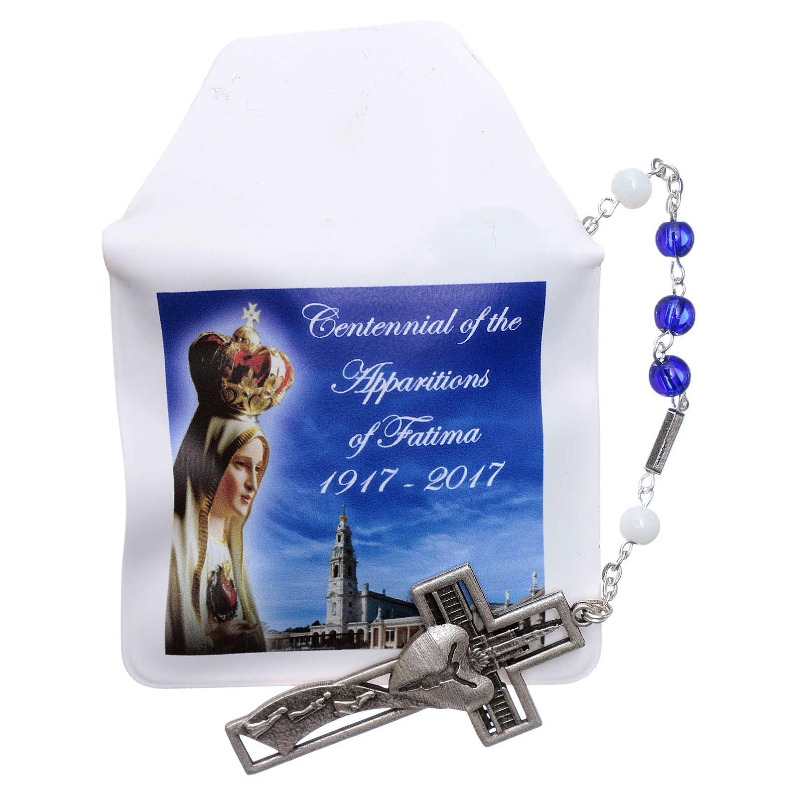 Chapelet centenaire Fatima perles verre 6 mm bleu 4