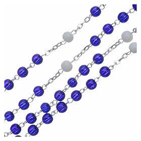 Chapelet centenaire Fatima perles verre 6 mm bleu s3