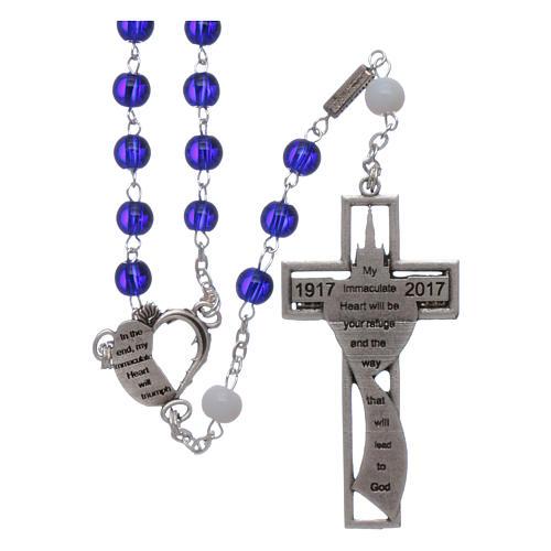 Chapelet centenaire Fatima perles verre 6 mm bleu 2