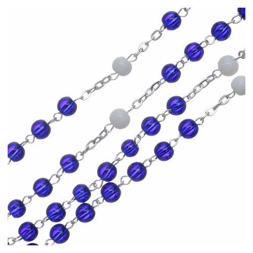 Chapelet centenaire Fatima perles verre 6 mm bleu 3