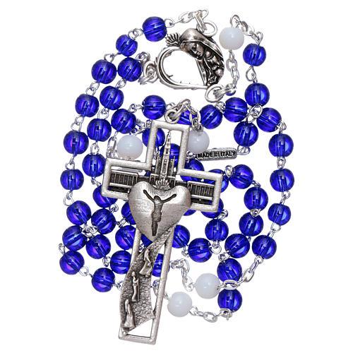 Chapelet centenaire Fatima perles verre 6 mm bleu 5
