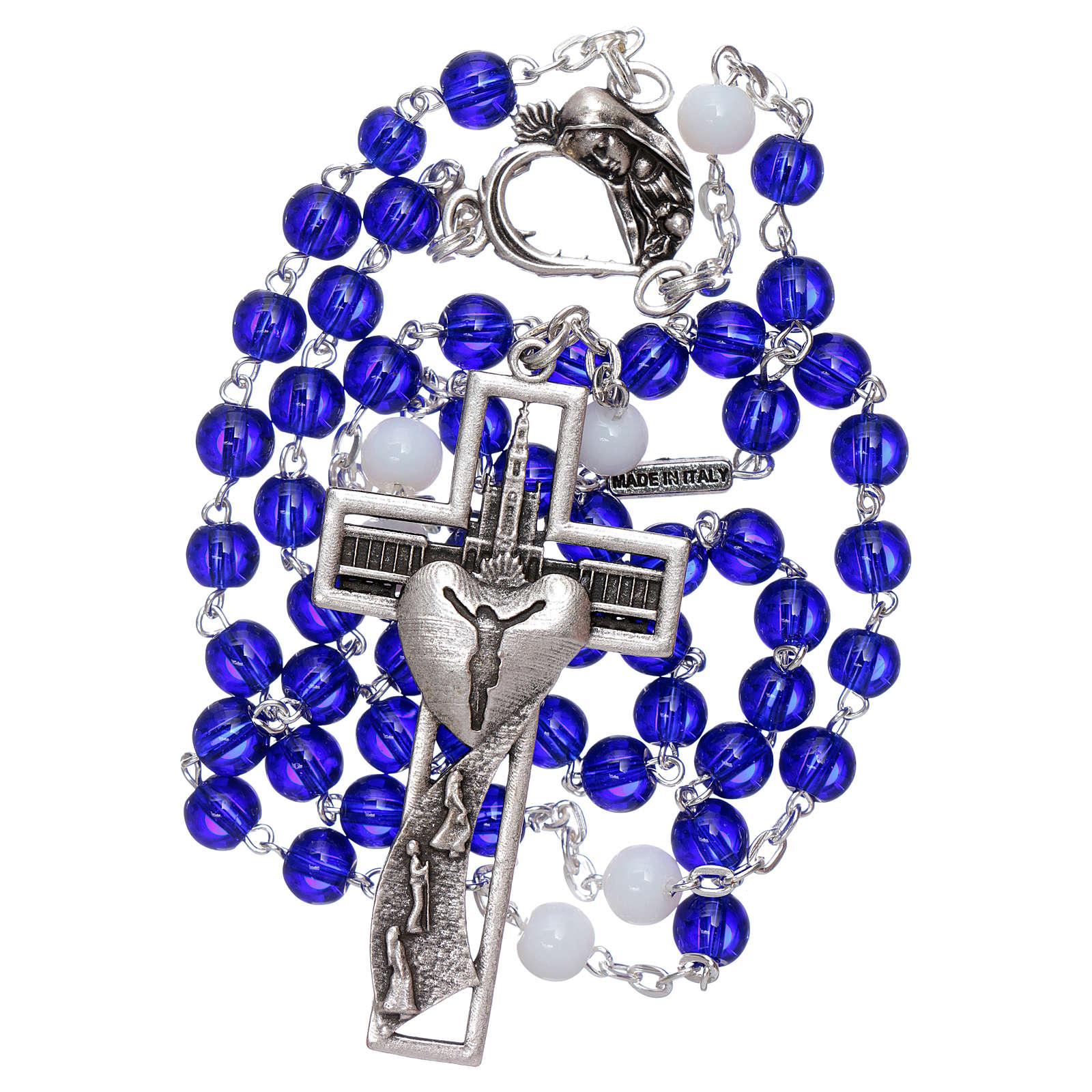 Terço centenário Fátima contas vidro 6 mm azul 4