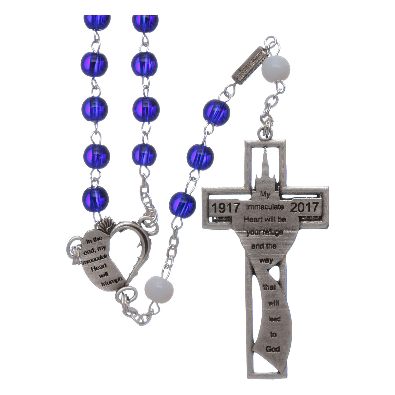 Centenary of Fatima rosary with blue 6 mm glass spheres 4