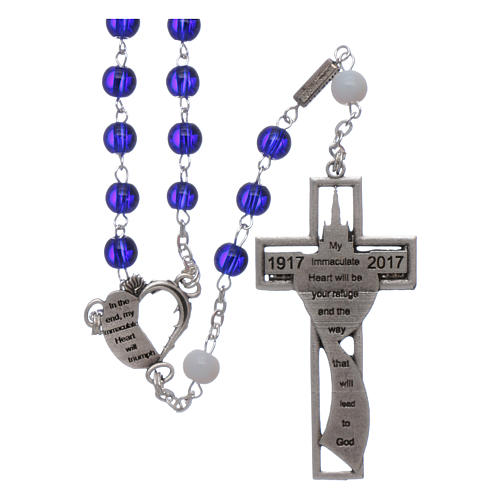 Centenary of Fatima rosary with blue 6 mm glass spheres 2