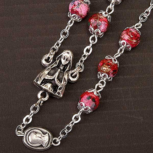 Ghirelli rosary decorated red glass beads 3