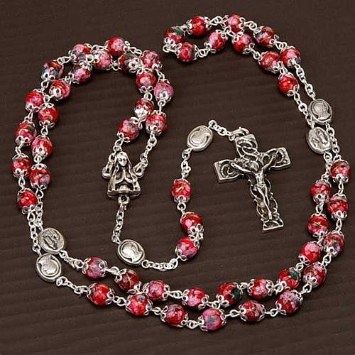 Ghirelli rosary decorated red glass beads 5