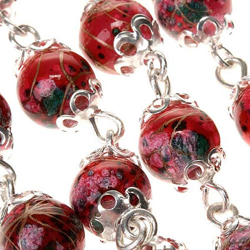 Ghirelli rosary decorated red glass beads 7