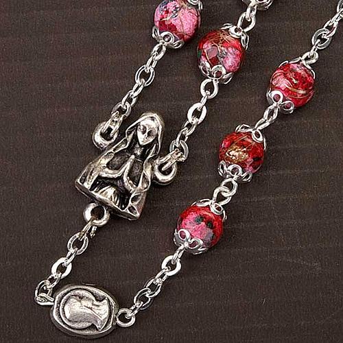 Chapelet Ghirelli verre décoré rouge 3