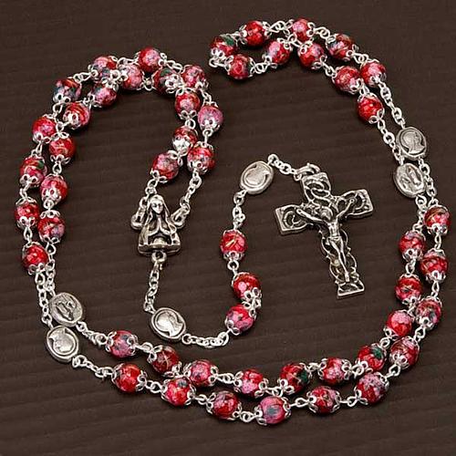 Chapelet Ghirelli verre décoré rouge 5