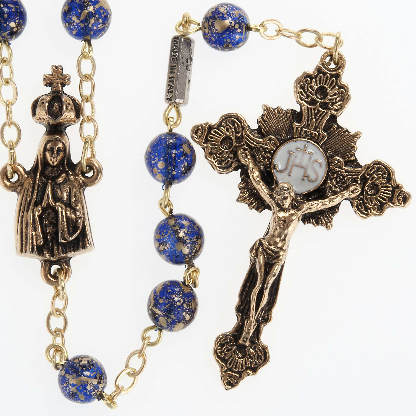 Chapelet Ghirelli Notre Dame de Fatima bleu et or 6 mm 4