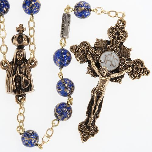 Rosario Ghirelli Madonna di Fatima vetro blu oro 6 mm 1