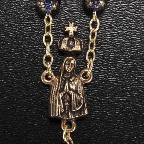 Rosario Ghirelli Madonna di Fatima vetro blu oro 6 mm 3