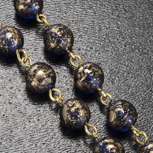 Rosario Ghirelli Madonna di Fatima vetro blu oro 6 mm 5