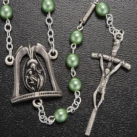 Chapelet Ghirelli Vierge Marie avec enfant vert clair 6 mm s2