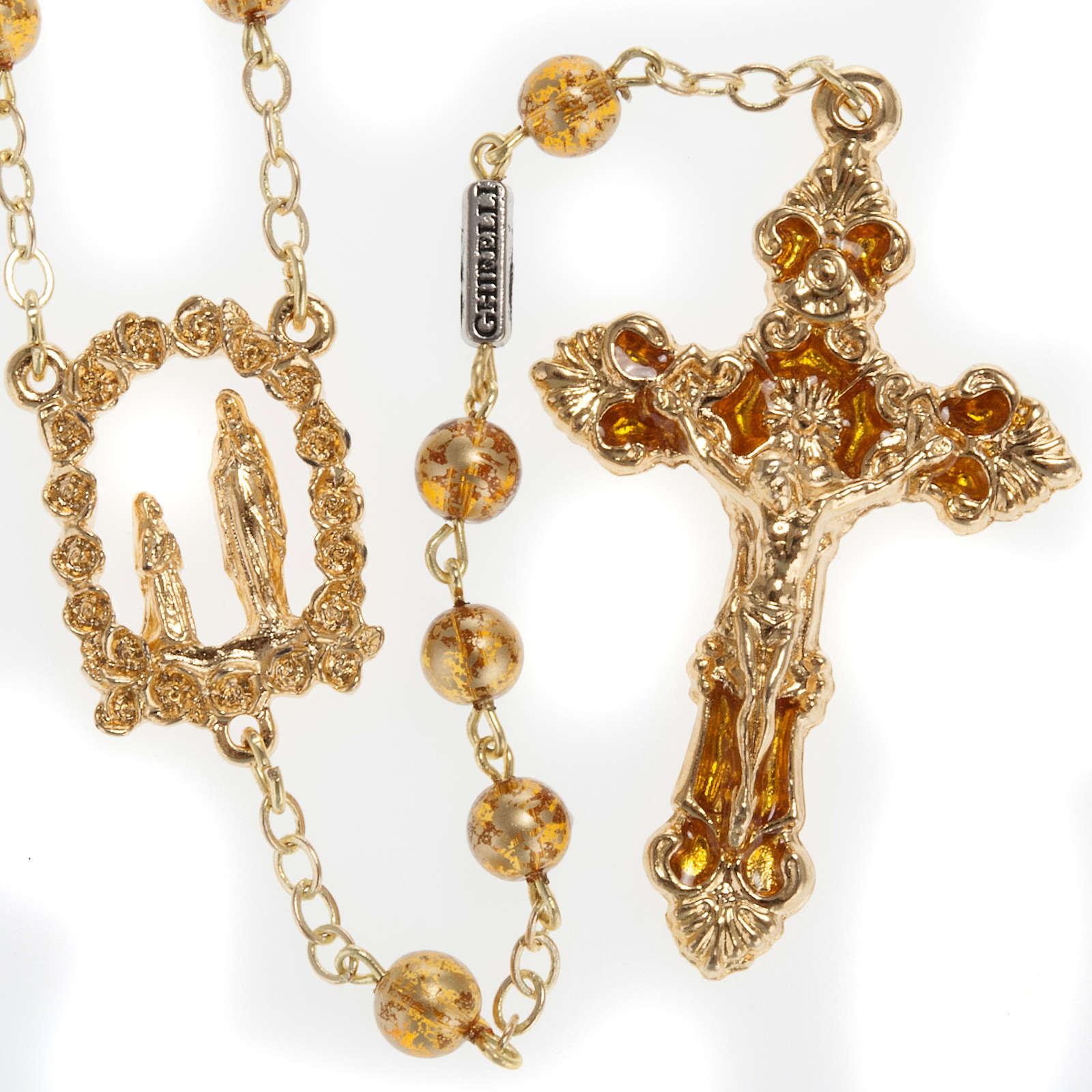 Ghirelli yellow rosary Grotto of Lourdes 6 mm, golden-plated 4