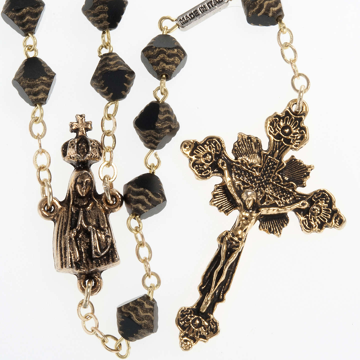 Ghirelli rosary in black and golden color with Our Lady of Fatim 4