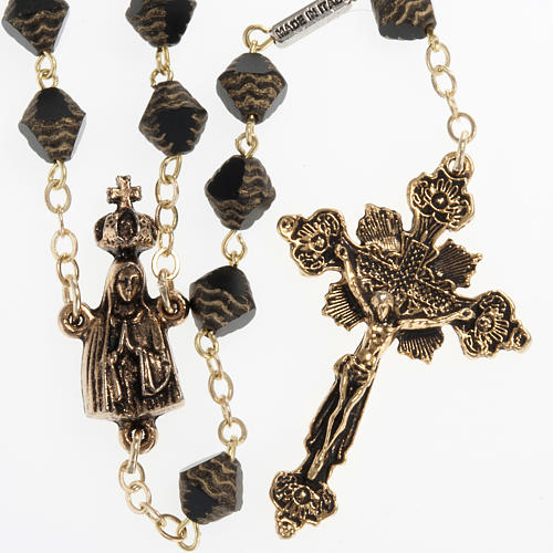 Ghirelli rosary in black and golden color with Our Lady of Fatim 1