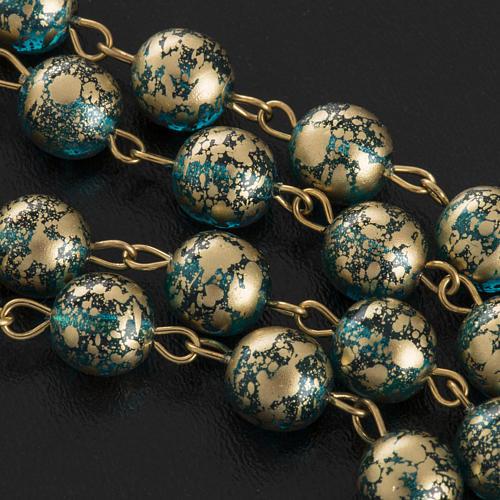 Rosario Ghirelli Gesù Risorto verde oro 8 mm 11