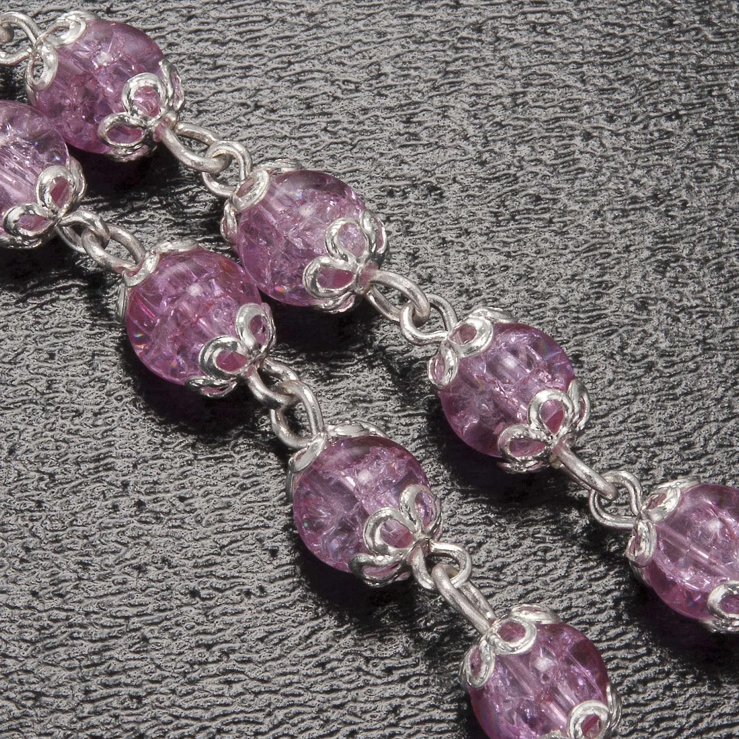 Rosario Ghirelli grotta Lourdes rosa vetro crepato 6 mm 4