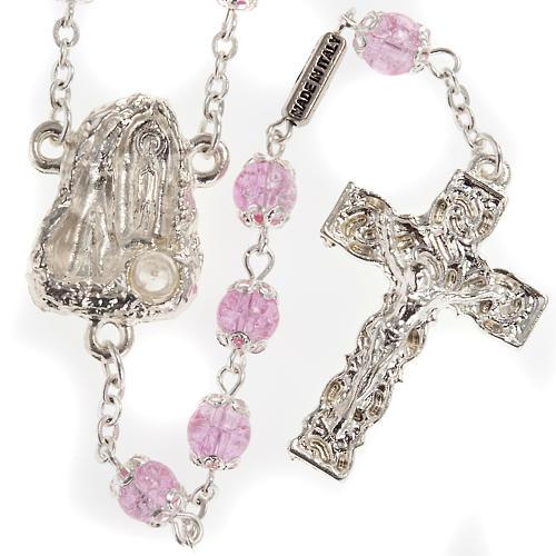 Rosario Ghirelli grotta Lourdes rosa vetro crepato 6 mm 1
