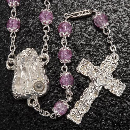 Rosario Ghirelli grotta Lourdes rosa vetro crepato 6 mm 2