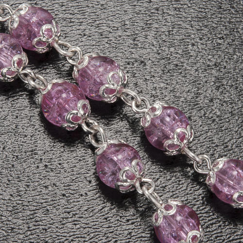 Rosario Ghirelli grotta Lourdes rosa vetro crepato 6 mm 5