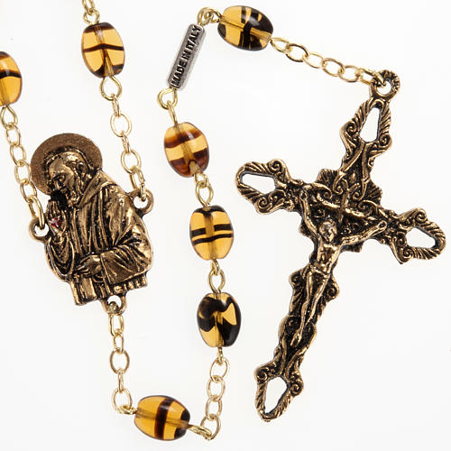 Rosario Ghirelli Padre Pio ambra 6x8 mm 1