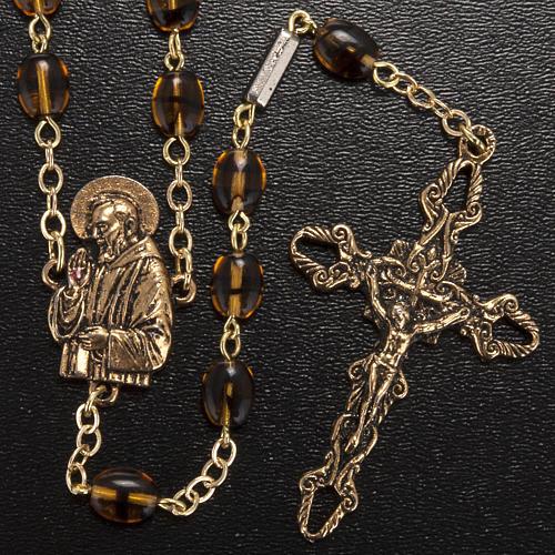 Rosario Ghirelli Padre Pio ambra 6x8 mm 2