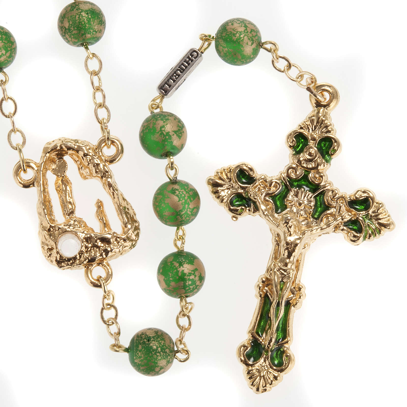 Ghirelli rosary Lourdes Grotto, green-golden 8mm 4