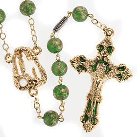 Ghirelli rosary Lourdes Grotto, green-golden 8mm s1