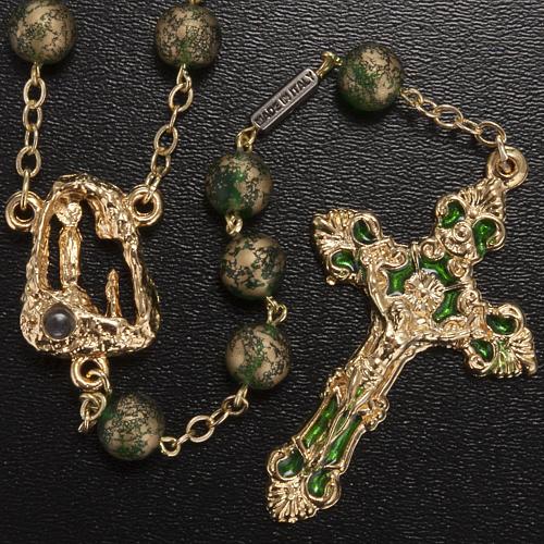 Ghirelli rosary Lourdes Grotto, green-golden 8mm 2