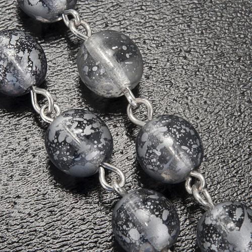 Rosario Ghirelli vetro grigio smaltato Grotta Lourdes 8 mm 6