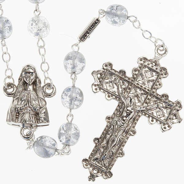 Ghirelli rosary, grey enamelled glass, Lourdes grotto 8mm 4