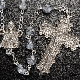 Ghirelli rosary, grey enamelled glass, Lourdes grotto 8mm s2
