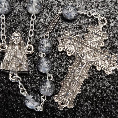 Ghirelli rosary, grey enamelled glass, Lourdes grotto 8mm 2