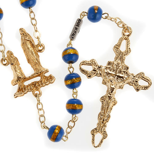 Ghirelli rosary Lourdes Grotto, blue-yellow 7mm 1