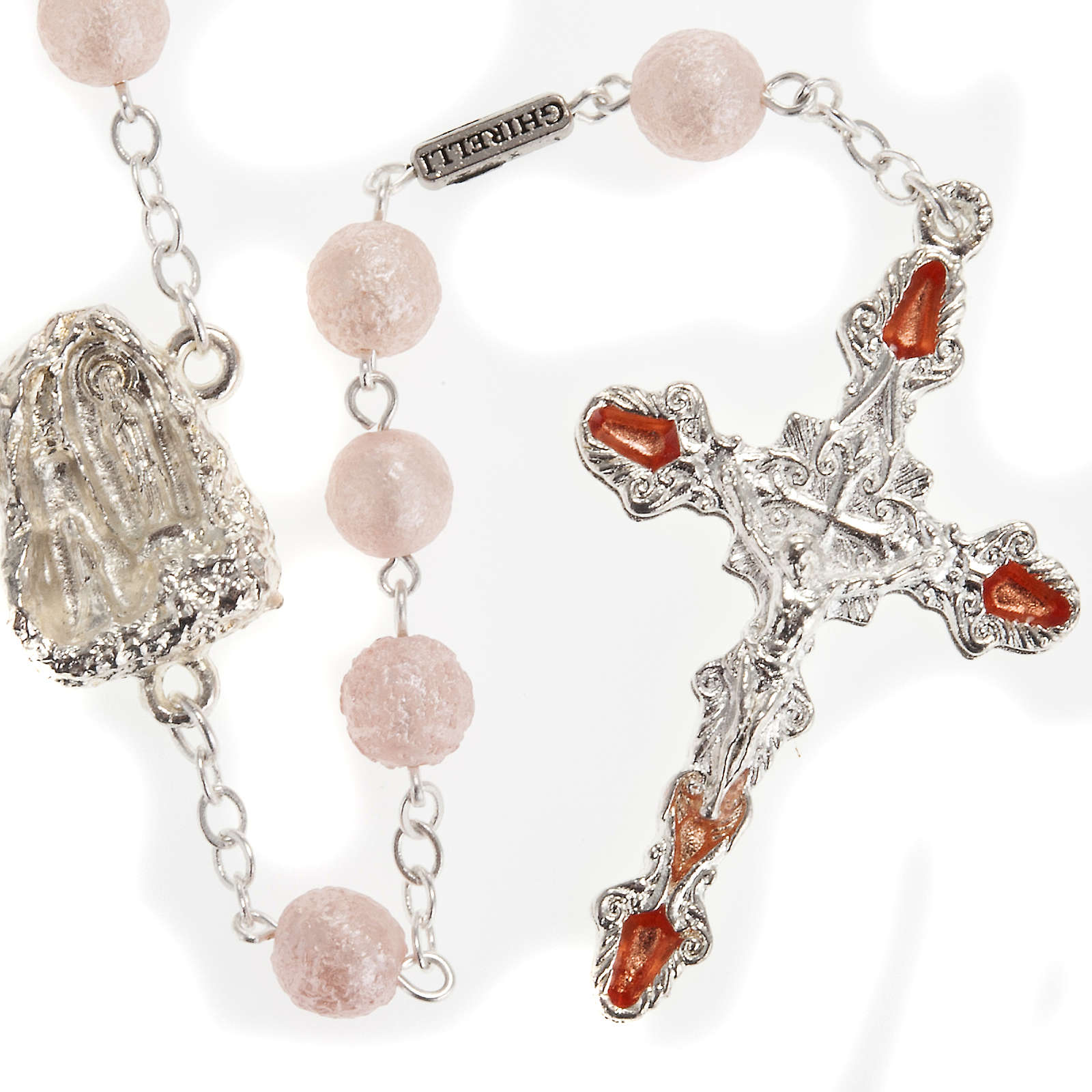Ghirelli pink rosary Lourdes Grotto, opaque glass 7mm 4