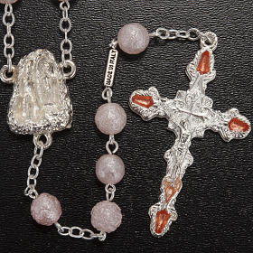 Ghirelli pink rosary Lourdes Grotto, opaque glass 7mm s2