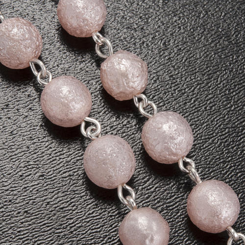 Ghirelli pink rosary Lourdes Grotto, opaque glass 7mm 5