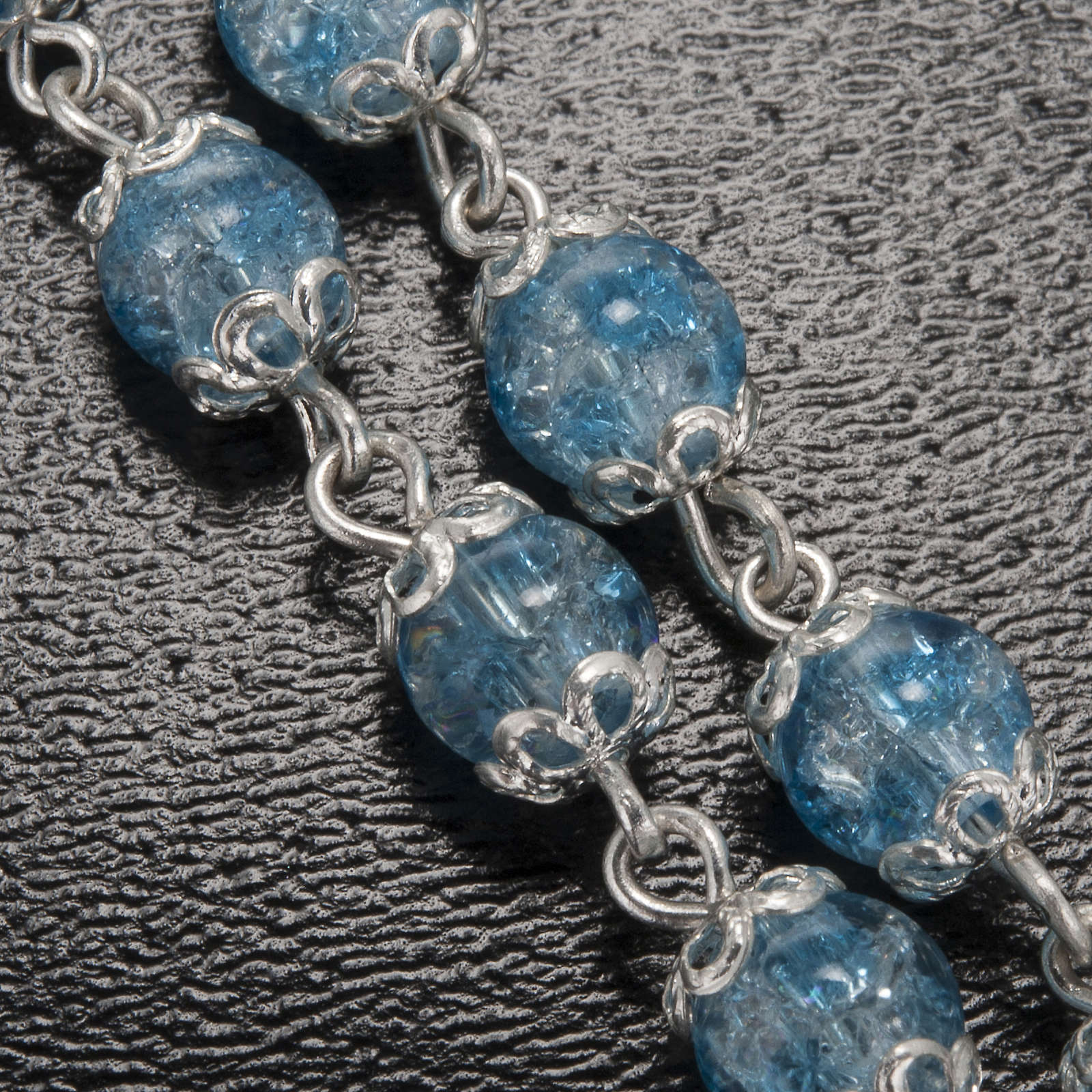 Ghirelli light blue rosary Lourdes Grotto, glass 4