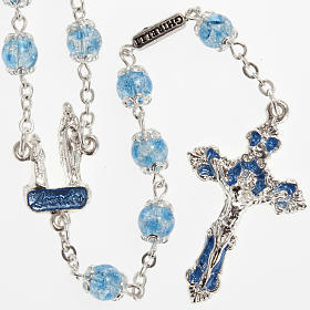 Ghirelli light blue rosary Lourdes Grotto, glass s1