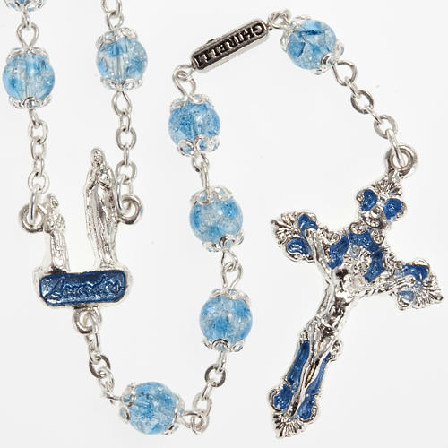 Ghirelli light blue rosary Lourdes Grotto, glass 1