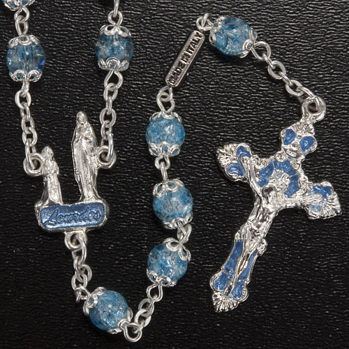 Ghirelli light blue rosary Lourdes Grotto, glass 2